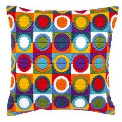 Coussin au point lancé Cercles multicolores