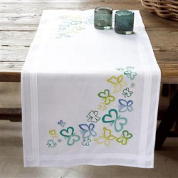 Chemin de table Papillons en tons verts